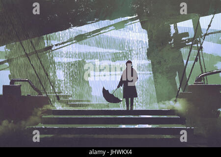 sci-fi scene of man with umbrella stands under building in rainy day, digital art style, illustration painting - Stock Photo