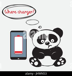 Cute sad panda with a smartphone that is discharged - Stock Photo