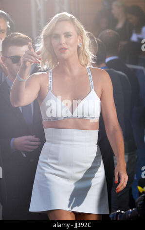 Berlin, Germany. 17th July, 2017. Actress Charlize Theron arrives at the world premiere of the film 'Atomic Blonde' - Stock Photo