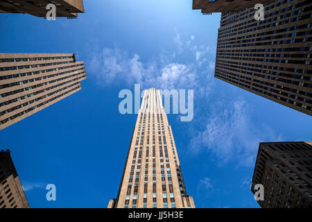 Looking up at some of the 19 high-rise buildings of the Rockefeller Center in midtown Manhattan, New York City declared - Stock Photo