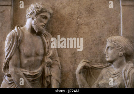 Funerary stele. Marble. Greek art. The name of deceased ... Grave Stele Of Ktesilaos And Theano