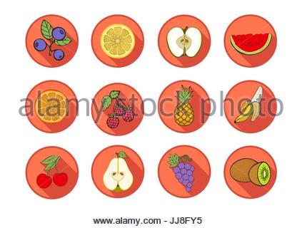 Fruit vector icons. Set multicolored icons various fruits and berries in a round orange frame with a beveled shadow - Stock Photo