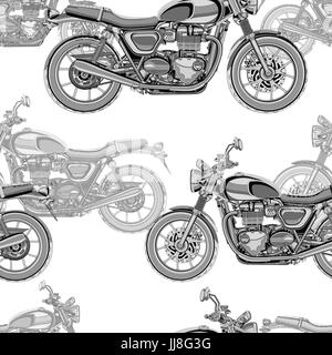 Motorcycle seamless pattern, vector background. Monochrome illustration. Black and white motorcycles with many details - Stock Photo