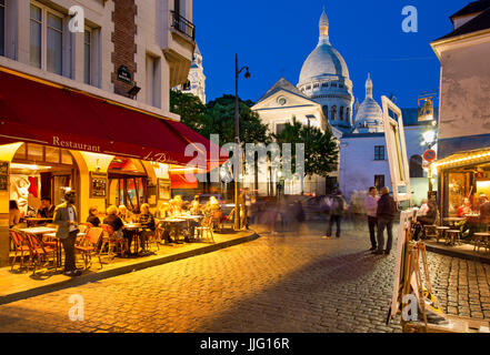 Evening at Place du Tertre in village of Montmartre, Paris, Ile-de-France, France - Stock Photo