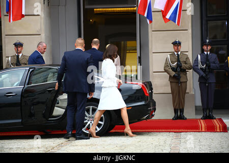 Berlin, Germany. 17th July, 2017. President Andrzej Duda and First Lady Agata Kornhauser-Duda received Prince William - Stock Photo