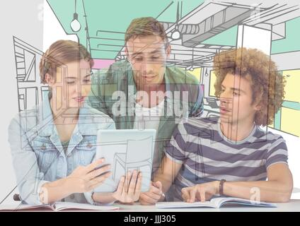 3 young men and woman looking on the tablet the draw of the new office - Stock Photo