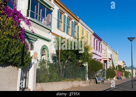 Colorful Houses in cerro Conception, Valparaiso, Chile, UNESCO World Heritage. - Stock Photo