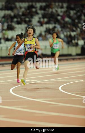 London, UK. 20th July, 2017. Yiting Shi (CHN) winning the Women's 100m T36 Final at the World Para Athletics Championships - Stock Photo