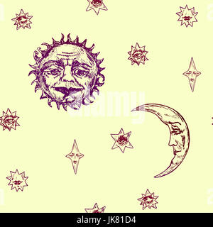 The sun with the wrinkled face of a wise old man, young moon and stars of different shapes with mysterious faces, - Stock Photo