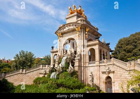 Fountain Cascada in Parc de la Ciutadella, Barcelona, Spain - Stock Photo
