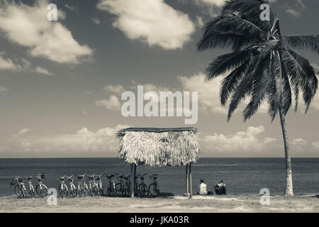 Cuba, Pinar del Rio Province, Puerto Esperanza, bicycles by the seashore - Stock Photo