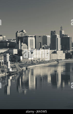 USA, Minnesota, Minneapolis, St. Paul, elevated skyline from Mississippi River - Stock Photo