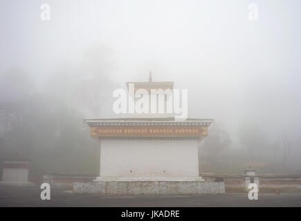 Thimphu, Bhutan - Aug 29, 2015. Tibetan monastery at misty day in Thimphu, Bhutan. Bhutan is a small country in - Stock Photo