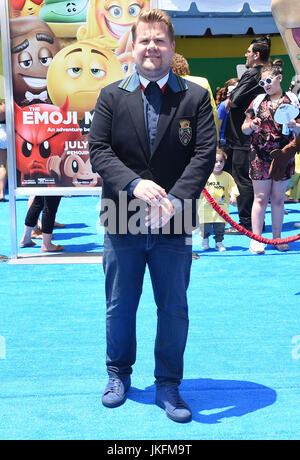 Westwood, California, USA. 23rd July, 2017. James Corden arrives for the premiere of the film 'The Emoji Movie' - Stock Photo