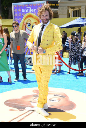 Westwood, California, USA. 23rd July, 2017. T.J. Miller arrives for the premiere of the film 'The Emoji Movie' at - Stock Photo