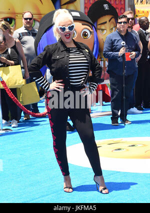 Westwood, California, USA. 23rd July, 2017. Christina Aguilera arrives for the premiere of the film 'The Emoji Movie' - Stock Photo