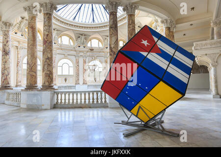 The Gran Teatro de La Habana Alicia Alonso, interior architecture with Cuban flag art exhibit, Havana, Cuba - Stock Photo