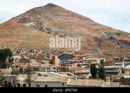 Panoramic view of Potosi city with Cerro Rico (silver mountain) in the background, Bolivia, South America - Stock Photo