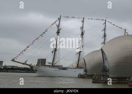 London, UK  24th July 2017. 115 metre long Peruvian Navy training ship, BAP Union, Passes through the Thames Barrier - Stock Photo