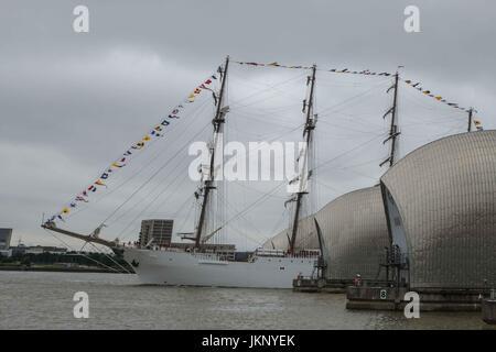 London, UK  24th July 2017. 115 metre long Peruvian Navy training ship, BAP Union, Passes through the Thames Barrier - Stock Photo