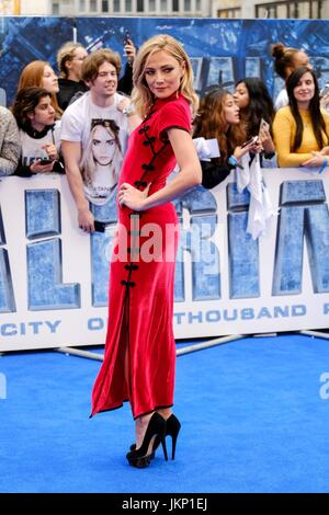 Clara Paget arrives on the Blue Carpet at Cineworld Leicester Square for the European Premiere of Valerian and the - Stock Photo