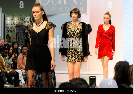 Fashion show models wearing clothes by Wal-G on the Spirit Catwalk at Pure London, Olympia, London, UK. 24th July - Stock Photo