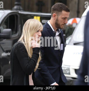 London, UK. 24th July, 2017. Pic shows:  24.7.17 High Court London Charlie Gard parents Connie Yates and Chris Gard - Stock Photo
