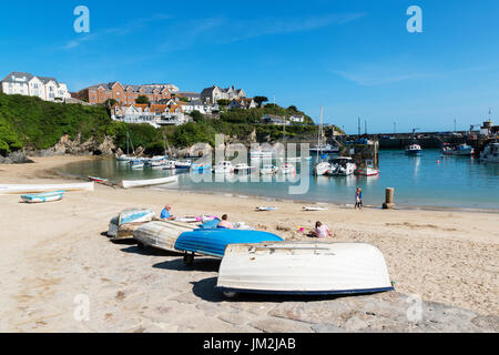 the harbour at newquay in cornwall, england, uk. - Stock Photo