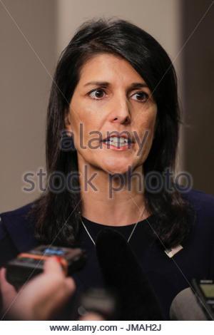 New York, USA. 25th July, 2017. United Nations, New York, USA, July 25 2017 - Nikki Haley United States Ambassador - Stock Photo