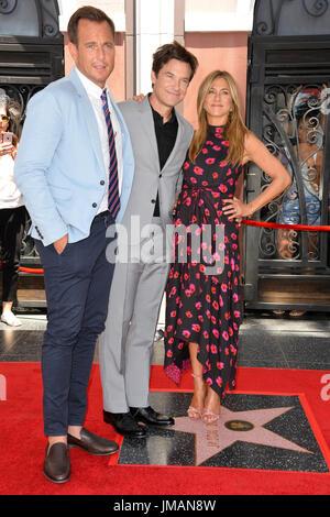 Los Angeles, USA. 26th July, 2017. LOS ANGELES, CA. July 26, 2017: Actors Will Arnett, Jason Bateman & Jennifer - Stock Photo