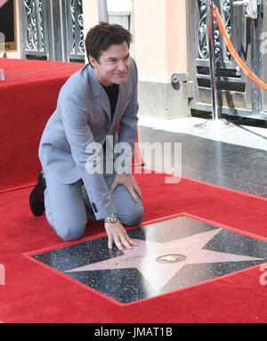 Los Angeles, USA. 26th July, 2017. Actor Jason Bateman poses during a star honoring ceremony on the Hollywood Walk - Stock Photo