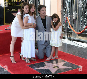Los Angeles, USA. 26th July, 2017. Actor Jason Bateman poses with his family during a star honoring ceremony on - Stock Photo
