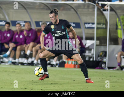 Los Angeles, California, USA. 26th July, 2017. Real Madrid Gareth Bale controls the ball during their International - Stock Photo