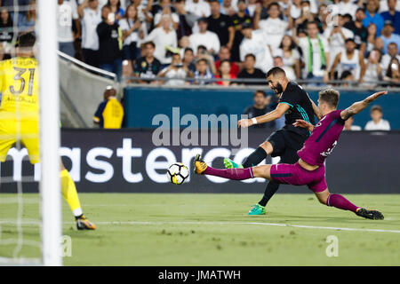 Los Angeles, California, USA. 26th July, 2017. John Stones (5) Manchester City's player. Ederson Moraes (31) Manchester - Stock Photo