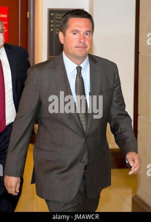 Washington, Us. 25th July, 2017. United States Representative Devin Nunes (Republican of California) departs after - Stock Photo