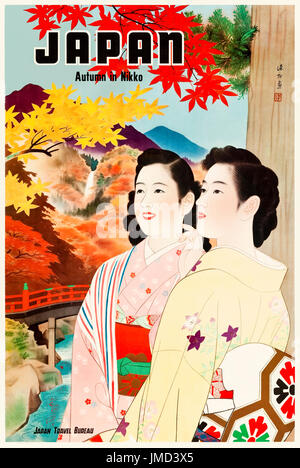 'Japan Autumn in Nikko' Government Tourism Poster released by the Japan Travel Bureau in the 1950s featuring ladies - Stock Photo