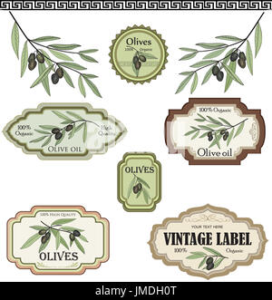 Vintage olive labels set. Organic food colored sketch sign set. Mediterranean cuisine sticker collection - Stock Photo