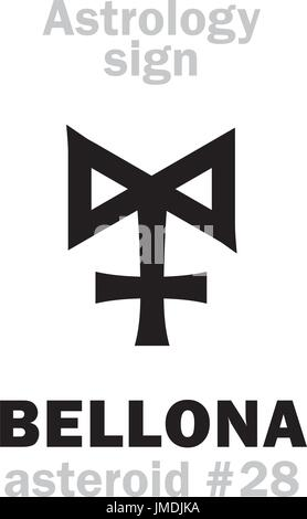 Astrology Alphabet: BELLONA, asteroid #28. Hieroglyphics character sign (single symbol). - Stock Photo