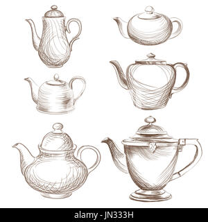 Kettles set. Teapots silhouette collection. Coffee pot isolated. - Stock Photo