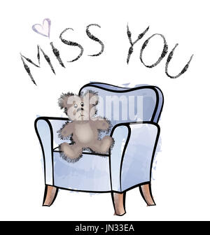 Miss you card with bear - Stock Photo