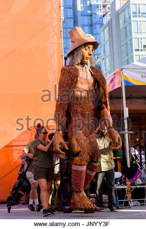 Vancouver, Canada. 30th Jul, 2017. Roving performers from Mortal Coil at the Drum is Calling Festival, Canada 150 - Stock Photo