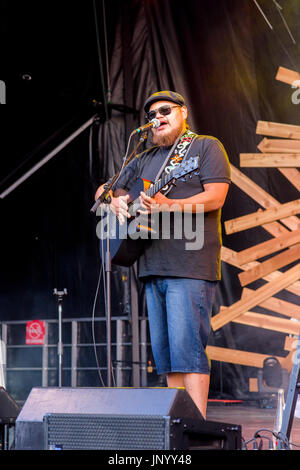 Vancouver, Canada. 30th Jul, 2017. Leonard Sumner performs at the Drum is Calling Festival, Canada 150  event, Larwill - Stock Photo