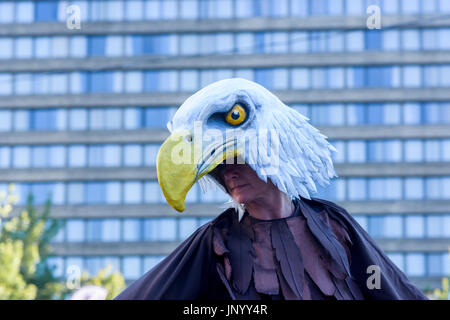 Vancouver, Canada. 30th Jul, 2017. Roving performer from Mortal Coil at the Drum is Calling Festival, Canada 150 - Stock Photo