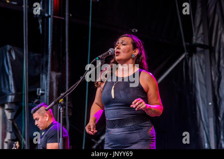 Vancouver, Canada. 30th Jul, 2017. Leela Gilday performs at the Drum is Calling Festival, Canada 150  event, Larwill - Stock Photo
