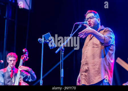 Vancouver, Canada. 30th Jul, 2017. Shane Koyczan performs at the Drum is Calling Festival, Canada 150  event, Larwill - Stock Photo