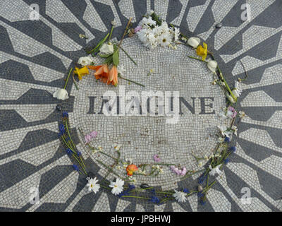 John Lennon Memorial at Strawberry Fields, Central Pak, NY - Stock Photo