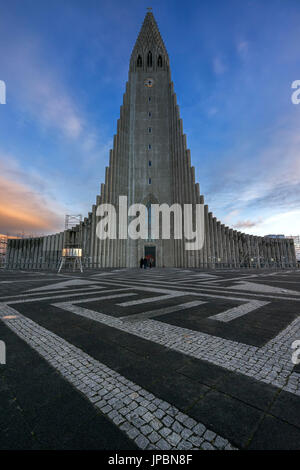 Reykjavik, Iceland. Hallgrímskirkja church at sunset. - Stock Photo