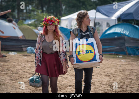 Kostrzyn upon Odra, Poland. 3rd August, 2017. Today is the first day of one of the biggest music festivals in Europe. - Stock Photo