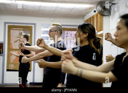 New York, USA. 3rd Aug, 2017. Alex Richter gives lessons to his high-level students at his Kung Fu school 'City - Stock Photo