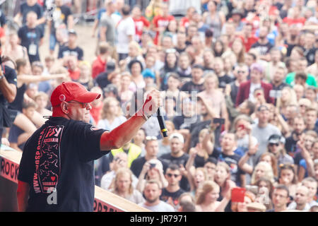 Kostrzyn, Poland. 3rd August, 2017. Jurek Owsiak, Festival founder and conductor, during the 23rd Woodstock Festival - Stock Photo
